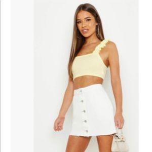 White Petite button up skirt
